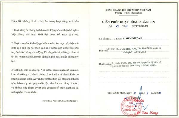 giấy phép in của Cty Bình Minh Pat